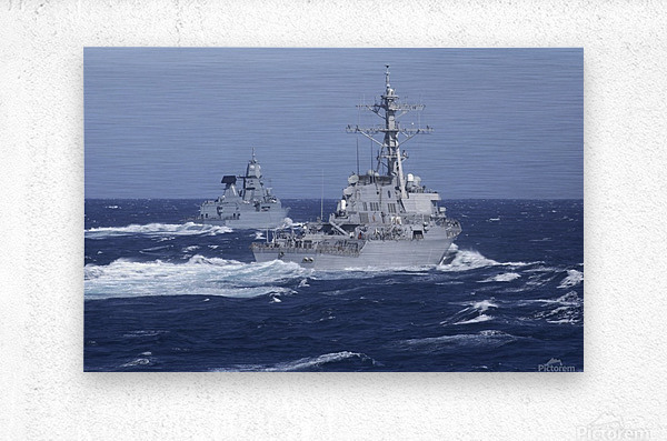 USS Carney practices diversion tactics with the German frigate Sachsen.  Metal print