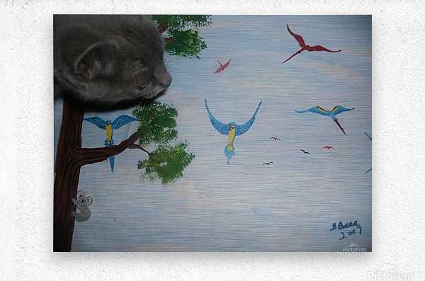 Real Kitty Hunting The Macaws  Metal print