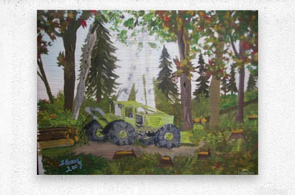 Logging in Maine Woods  Metal print