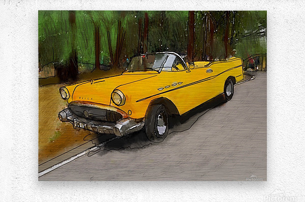 Cuba Yellow Car  Metal print