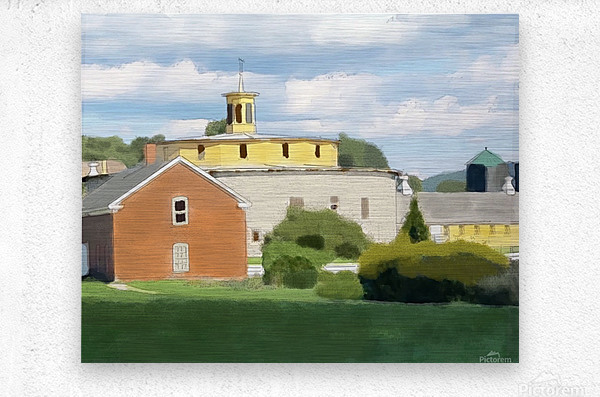 Hancock Shaker Village Round Stone Barn and Brick Poultry House  Metal print