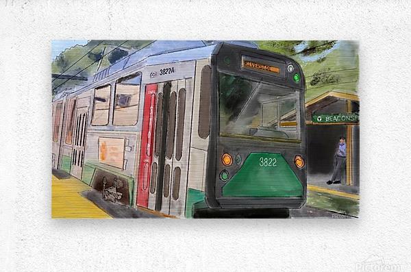 MBTA Green Line Trolly  Metal print