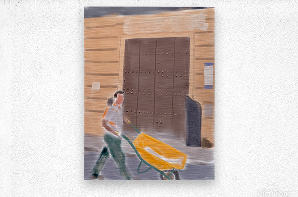 Cuba Wheelbarrow Worker  Metal print