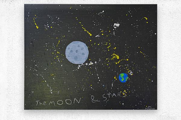 Moon and Stars. David R  Metal print