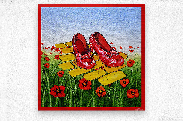 Ruby Slippers Yellow Brick Road Red Poppies Field  Metal print