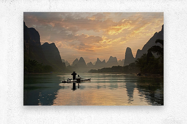 Golden Li River  Metal print