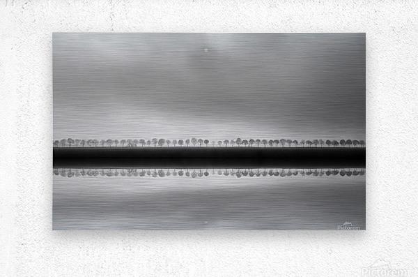 Polderlandscape in reflection  Metal print