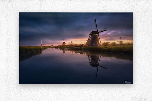 Kinderdijk Windmills  Metal print