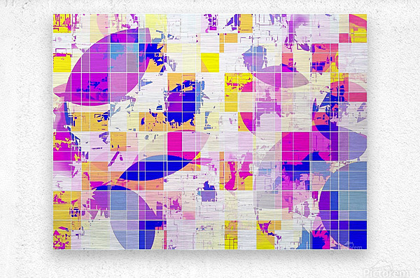 geometric square and circle pattern abstract in pink blue yellow  Metal print