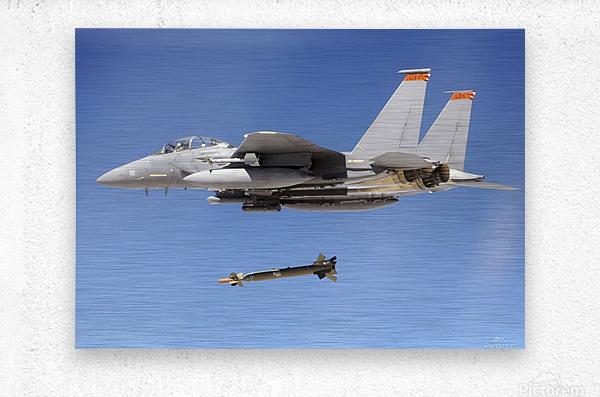 An F-15E Strike Eagle drops a GBU-28 bomb during a Combat Hammer mission.  Metal print
