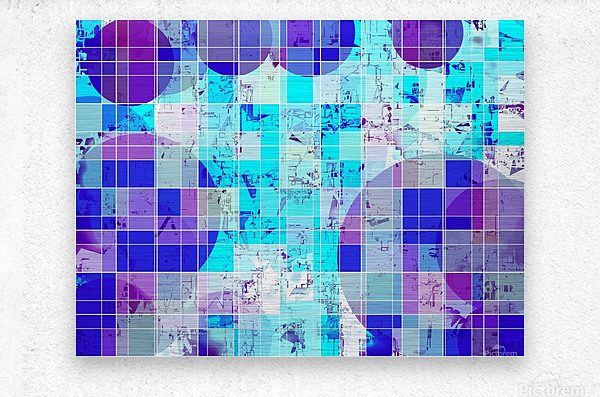 geometric square and circle pattern abstract in blue  Metal print