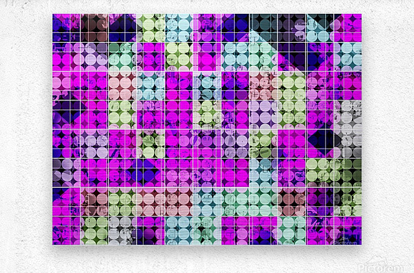 geometric square and circle pattern abstract in pink blue  Metal print