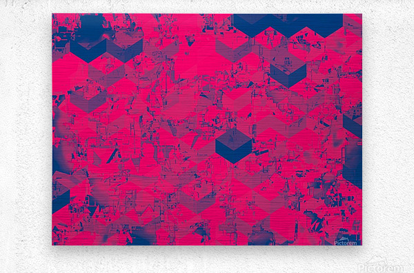 geometric square pattern abstract in pink blue  Metal print