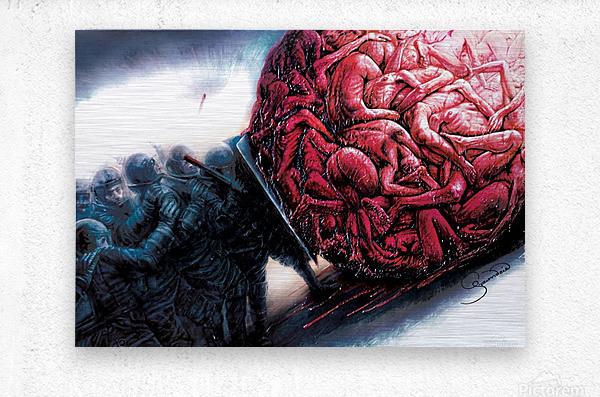 Riot by Krzysztof Grzondziel  Metal print