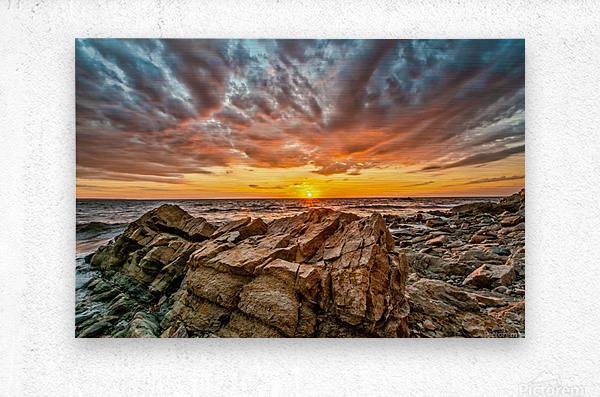 Rocks and Sunset  Metal print