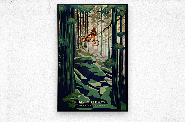 My Therapy retro Mountain biking art   Metal print