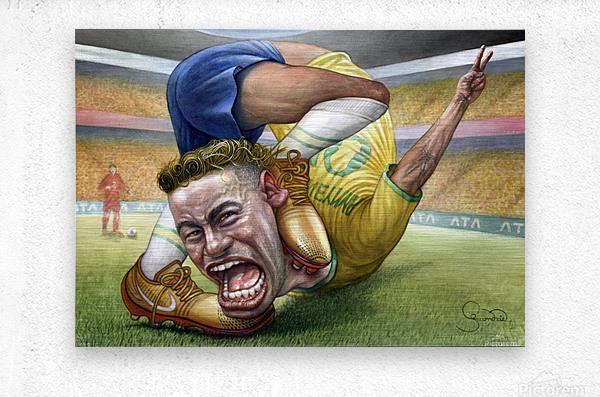 Neymar by Krzysztof Grzondziel  Metal print