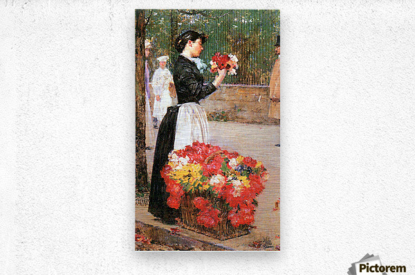 Flower girl by Hassam  Metal print