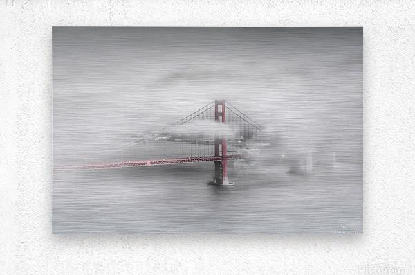 Foggy Golden Gate Bridge   colorkey  Metal print