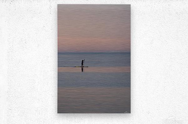 Evening paddleboarder  Impression metal