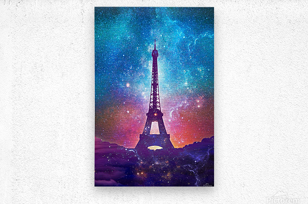 Eiffel Tower - Milky Way Collage  Metal print