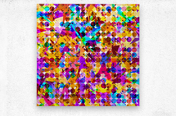 geometric circle and triangle pattern abstract in orange blue pink purple  Metal print