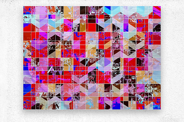geometric square and triangle pattern abstract in red pink blue  Metal print