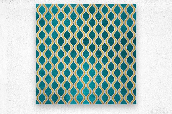 Gold - Turquoise pattern I  Metal print