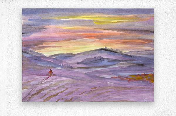 Sunset ski trip  Metal print