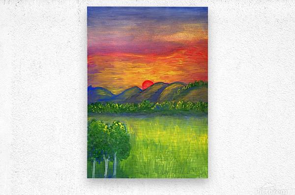 Mystical red sunset  Metal print