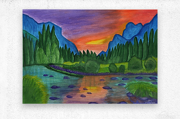 Mountain river in the background of the forest and the blue mountains at sunset  Metal print