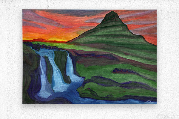 Mountain And Waterfall In The Rays Of The Setting Sun  Metal print