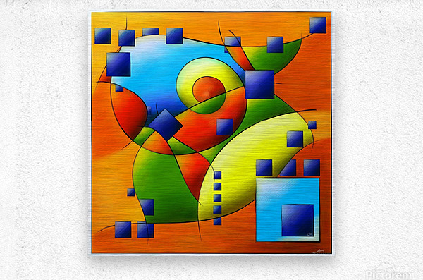 Fantisimella - colourful birdy abstract  Metal print
