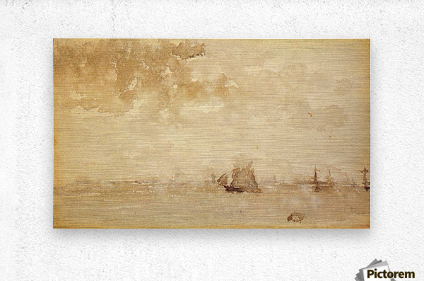 Seascape, a grey note by Whistler  Metal print