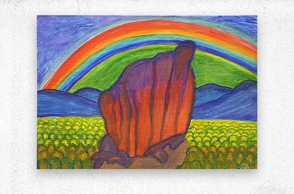 Mystical rock under the rainbow  Metal print