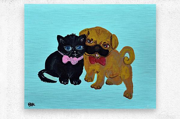Pugs and Hugs. Erin R  Metal print
