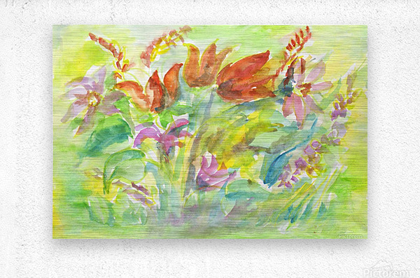 Flowers in the sunny meadow  Metal print