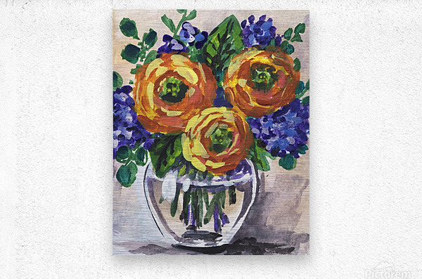 Impressionistic Flowers Warm Yellow Joy  Metal print