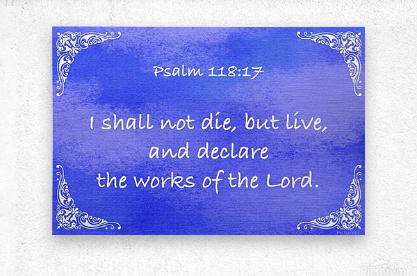 Psalm 118 17 5BL  Metal print