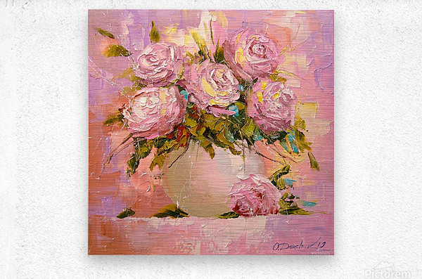 A bouquet of delicate roses  Metal print