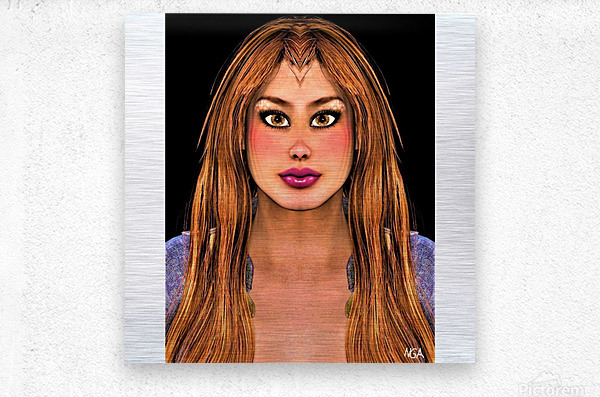 Brown Eyes - square format with with blank side border by Neil Gairn Adams  Metal print