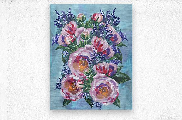 Beautiful Impressionistic Flowers  Metal print