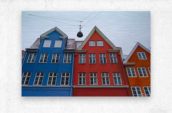 The red and blue house in Copenhagen  Metal print