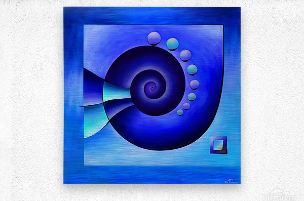 Escanissimera - endlessly limited blue spiral snail  Metal print