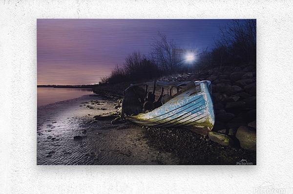 Old boat on Copenhagen shore at night   Metal print