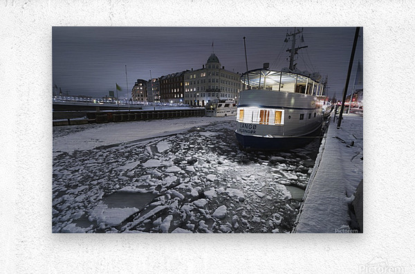 Frozen Nyhavn canal in winter  Metal print