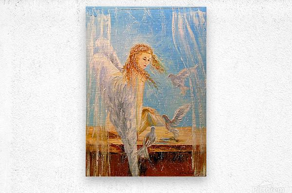 Angel on the window  Metal print