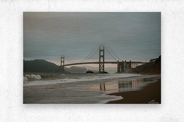 Golden Gate in the smog  Impression metal