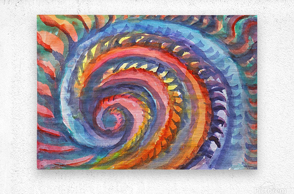 Watercolor abstract spiral staircase  Metal print