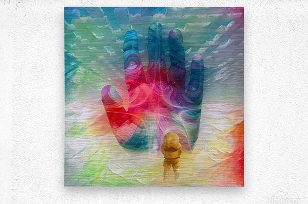 Astronaut Before Human Palm  Metal print